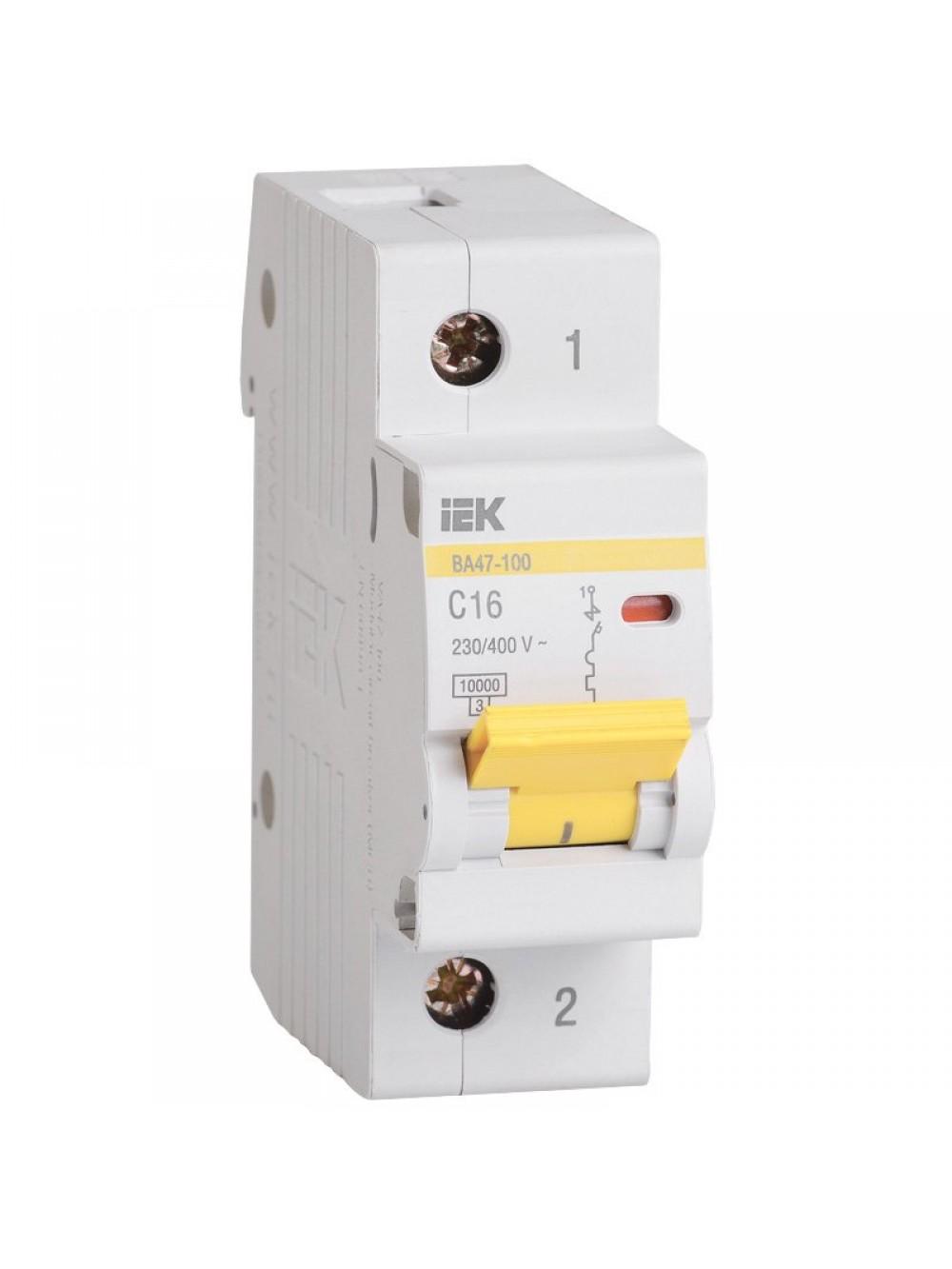 Выключатель на 1 полюс C 100А ВА 47-100 10кА ИЭК MVA40-1-100-C
