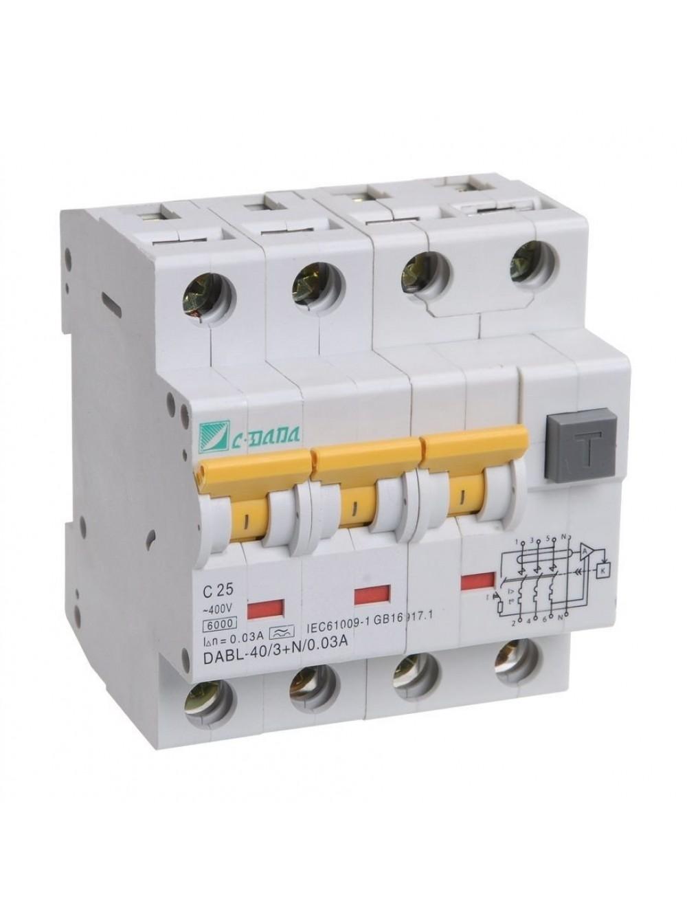 Выключатель авт. диф. тока 3п+N 4мод. C 32-100А 100мА тип A 6кА АВДТ-34 ИЭК