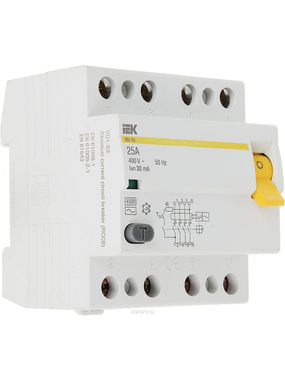 Выключатель диф. тока УЗО 4п 25А 30мА тип AC ВД1-63 ИЭК