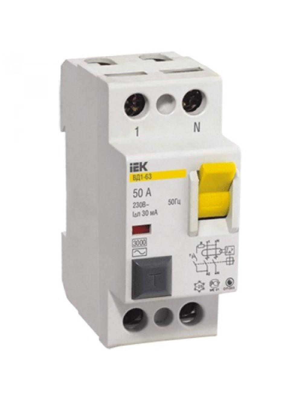 Дифференциальные выключатели УЗО 2п 25-40А 30мА тип AC ВД1-63 ИЭК
